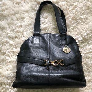 Stuart Wietzman Leather, Black and Gold Bag